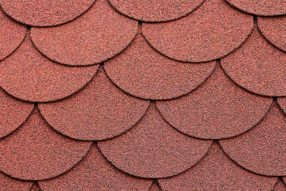 red shingles with rounded edges