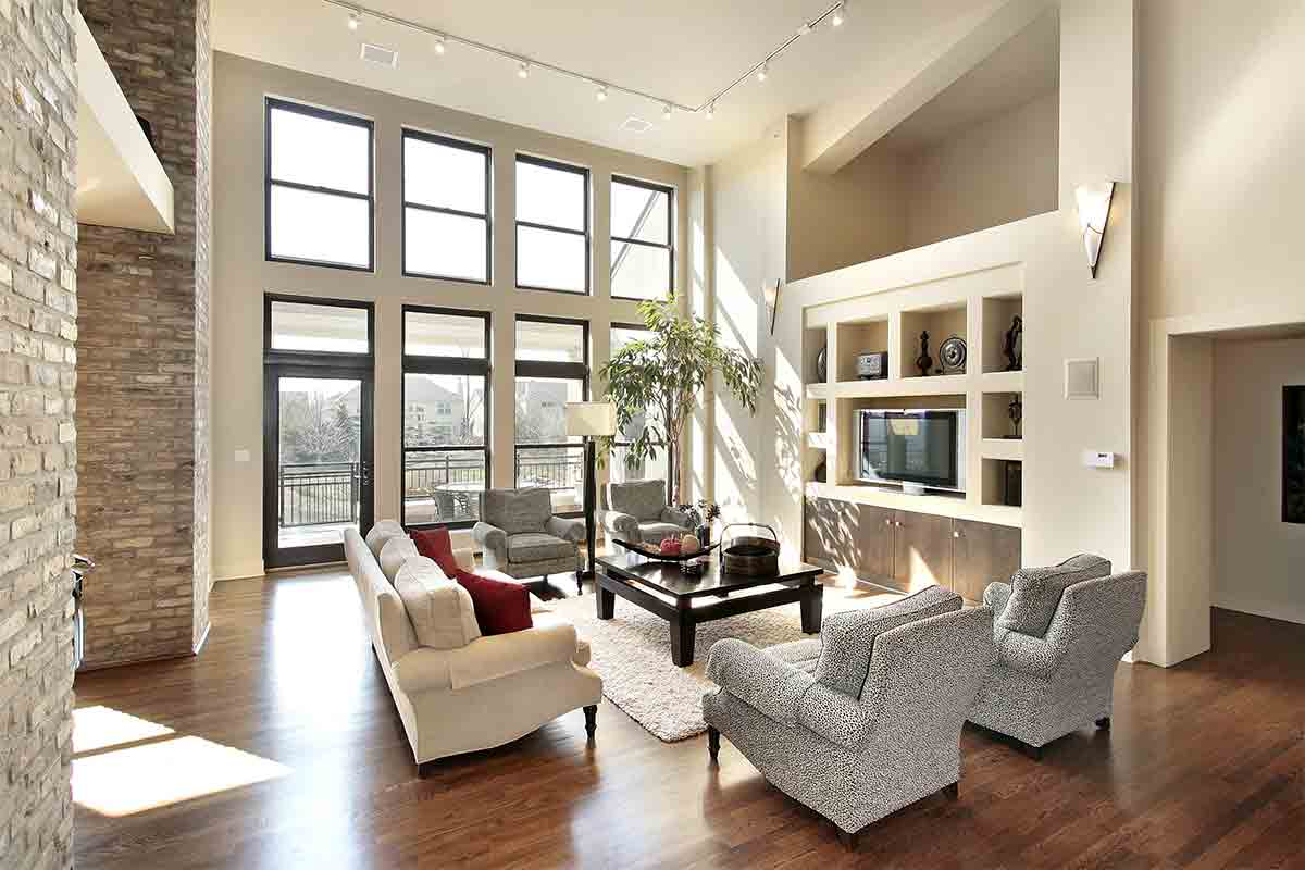 open living room with floor-to-ceiling windows