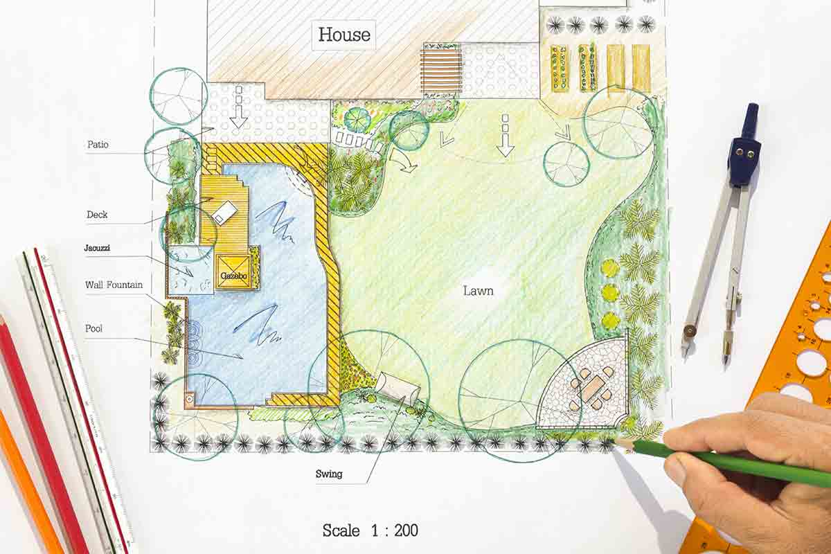 landscape plan drawing with hardscape and softscape elements