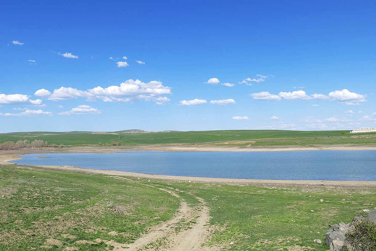 lake with low water during a drought