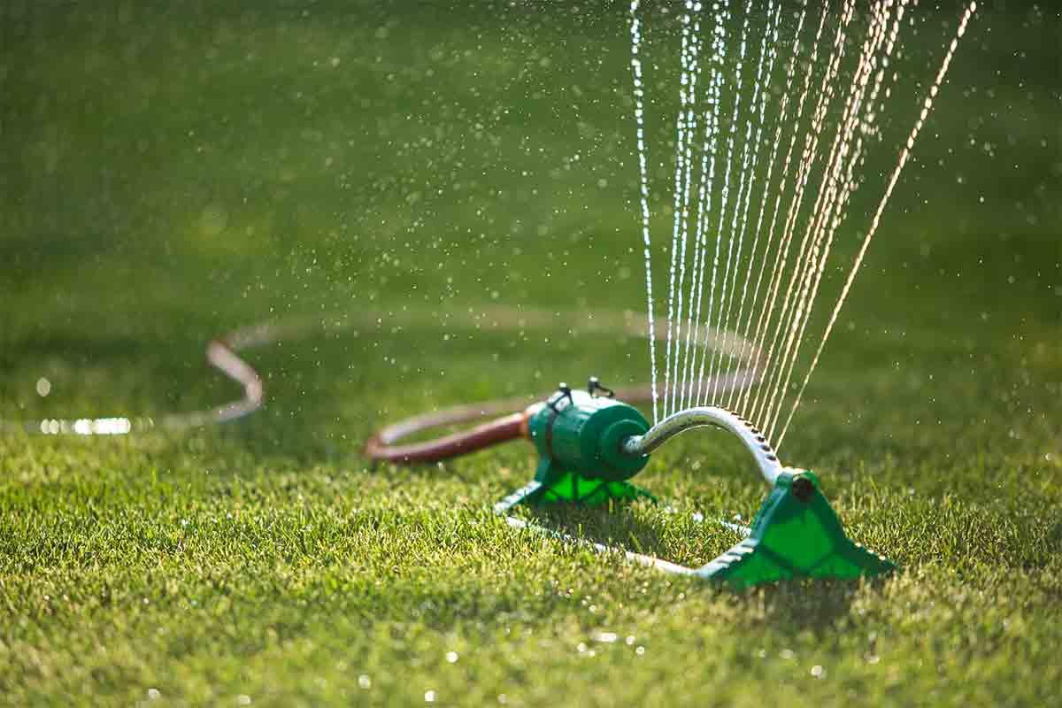 sprinkler-watering-bright-green-grass