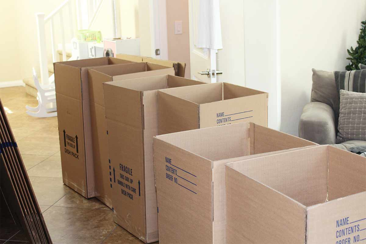 moving boxes stacked in hallway