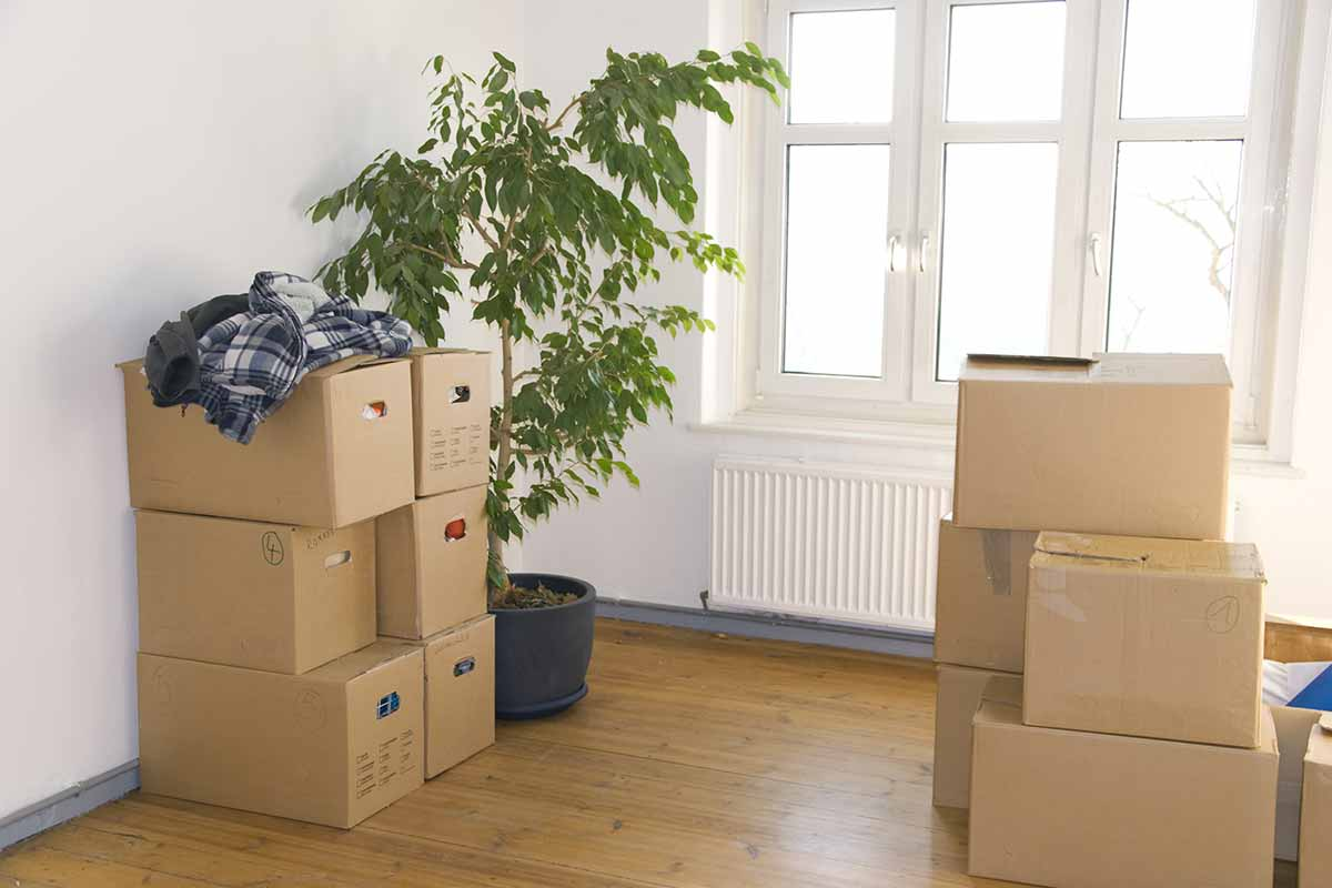 moving boxes stacked in empty room
