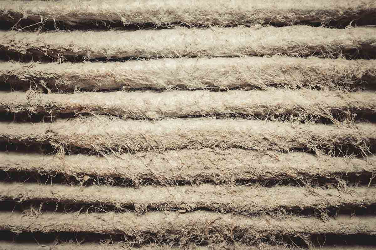 Close-up image of dirty air filter