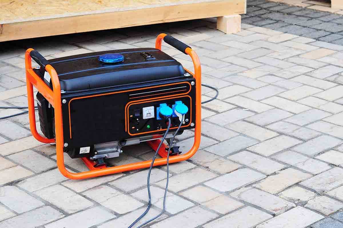 gas generator on brick patio