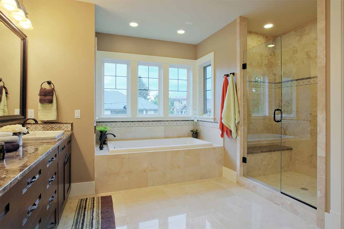 luxury bathroom with white marble floor