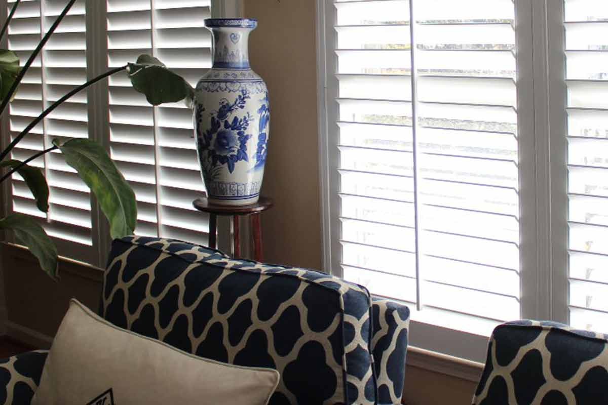 new plantation shutters installed in living room
