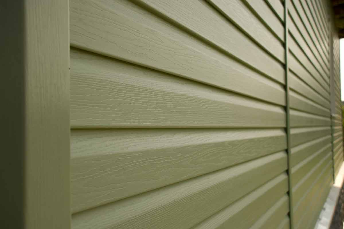 close-up image of green siding