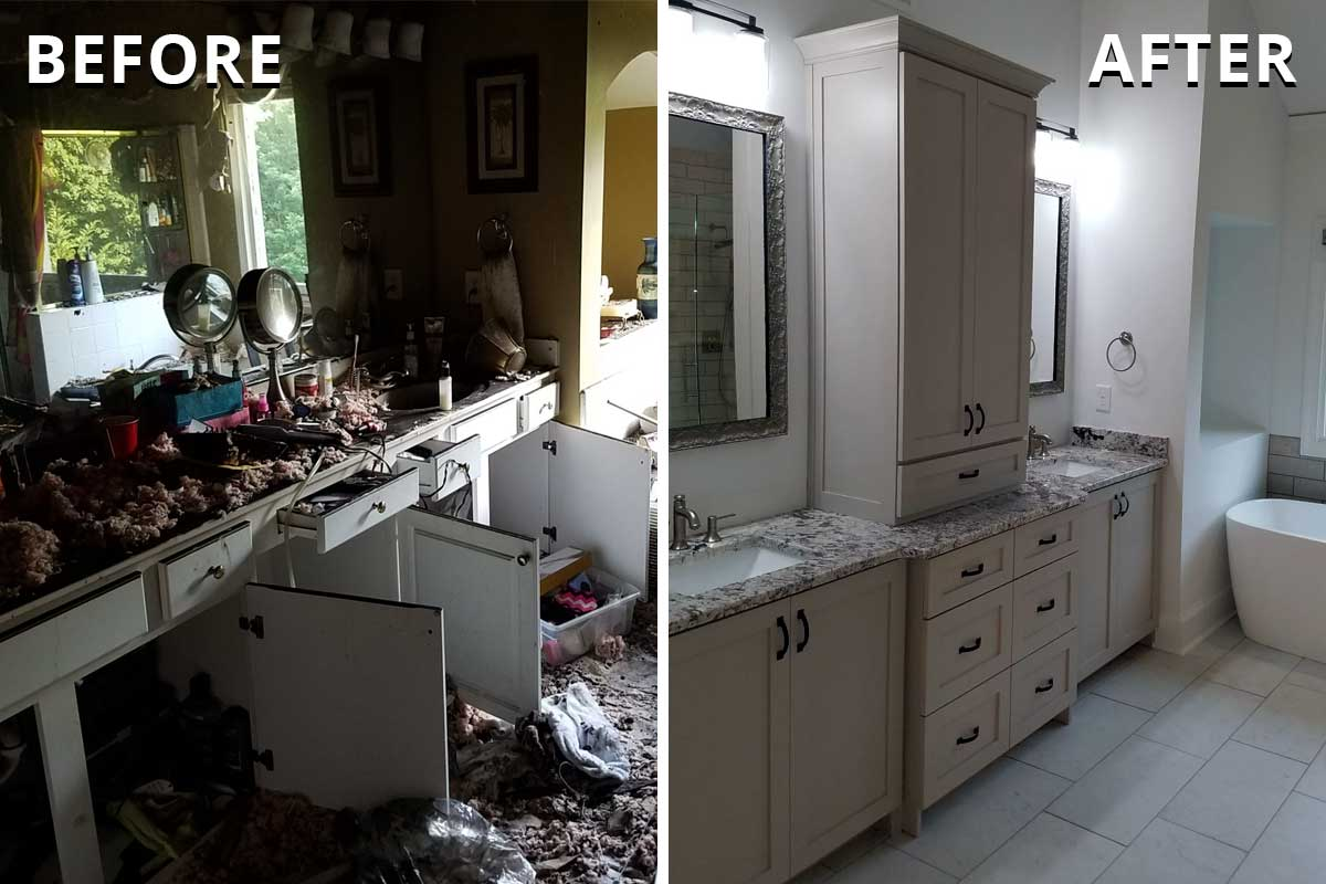 bathroom before and after disaster restoration