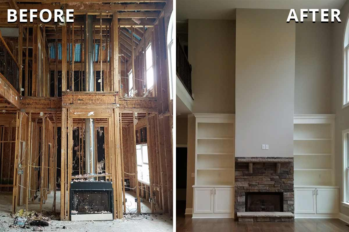 living room before and after disaster restoration