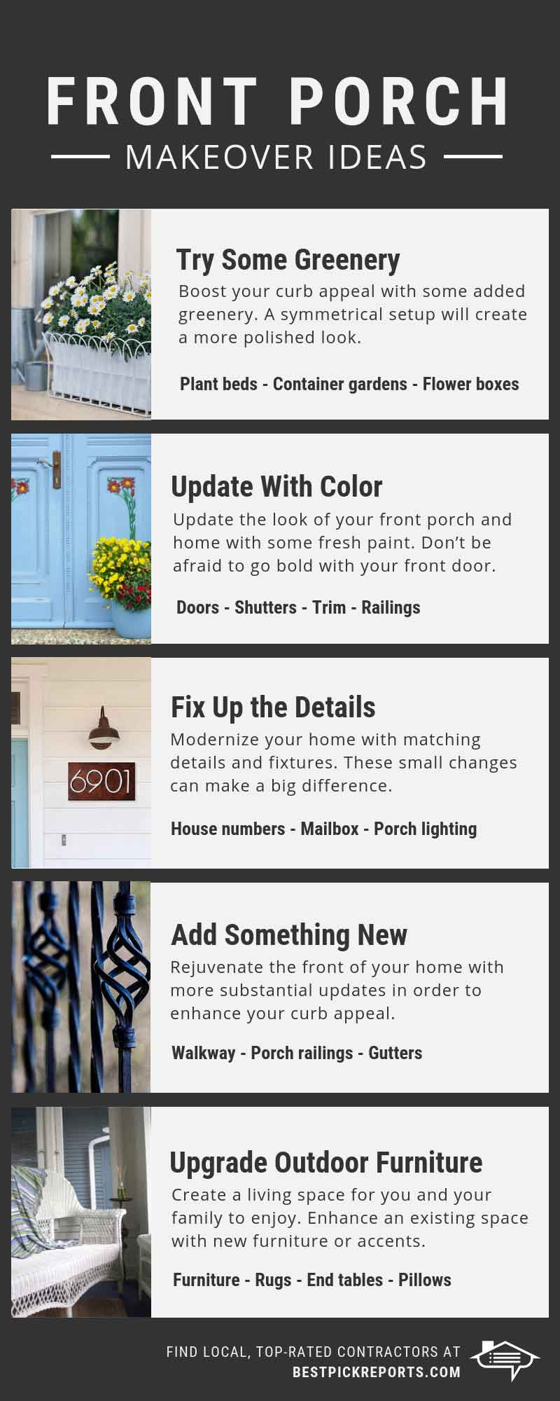 front porch makeover ideas infographic