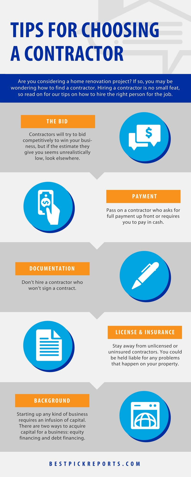 Tips for choosing a contractor infographic
