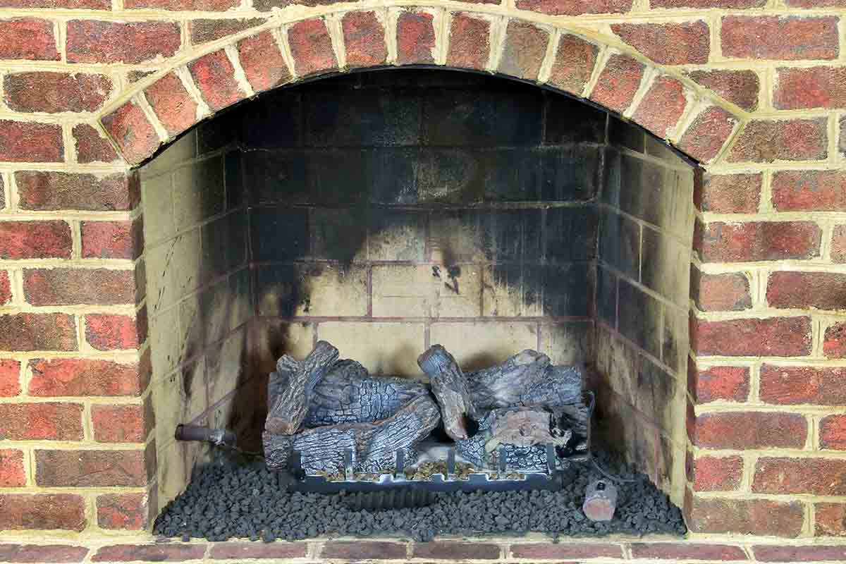 close-up of red brick fireplace