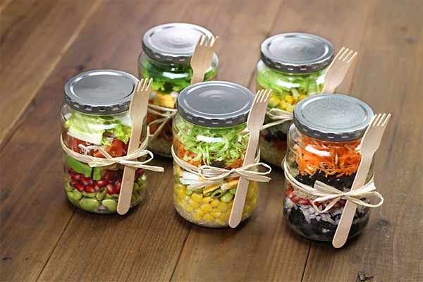 homemade salads in glass jars