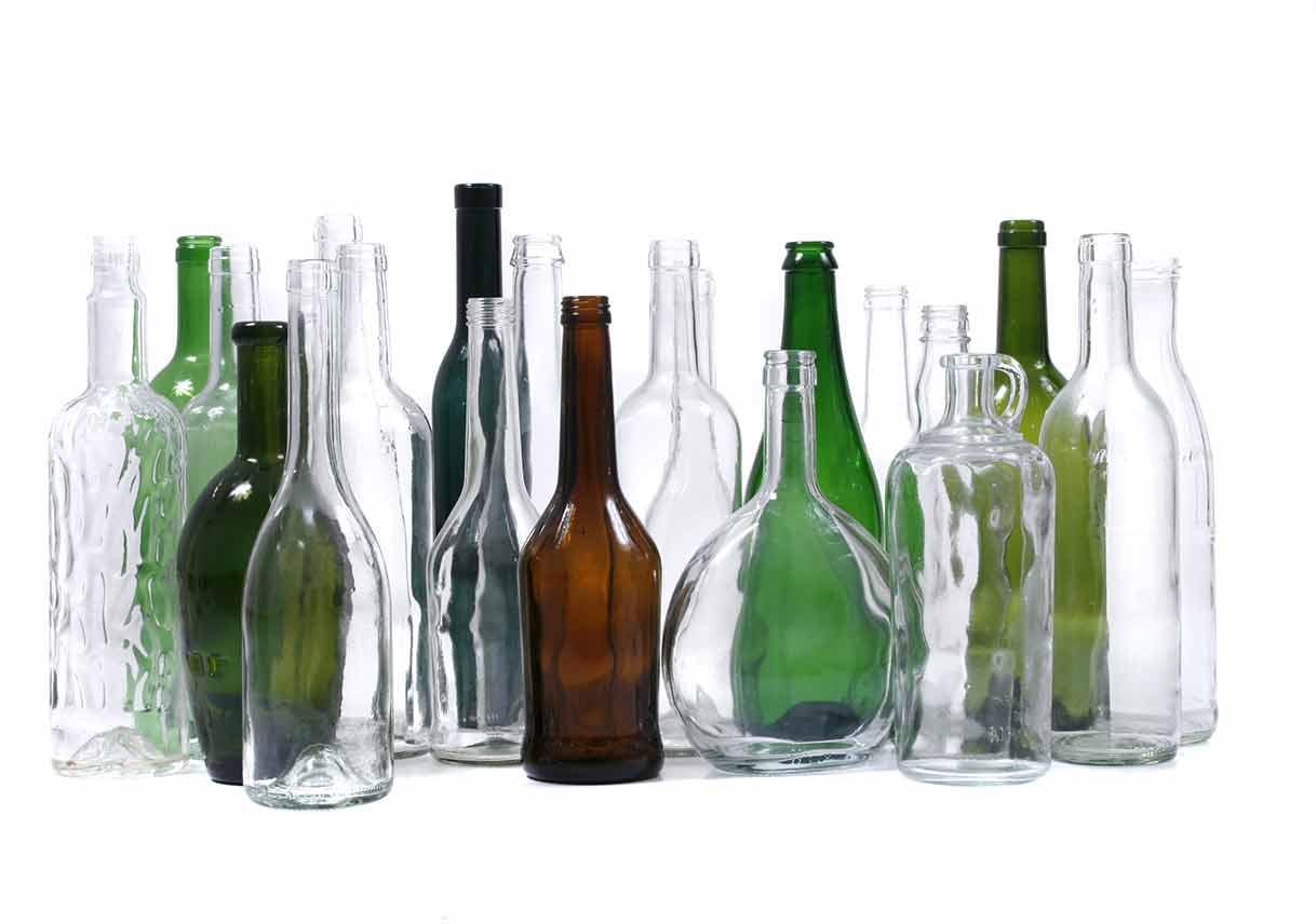 glass bottles isolated on the white background
