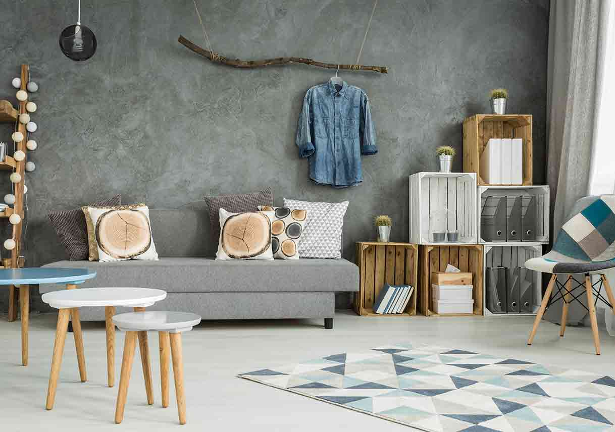 grey living room in new style with DIY furniture