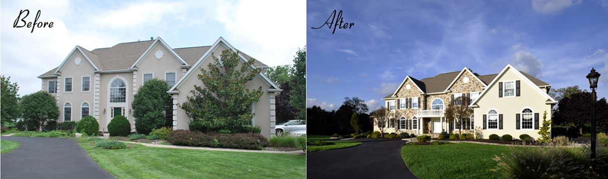 before and after new second floor balcony and stucco
