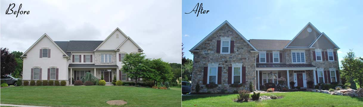 before and after new stone stucco