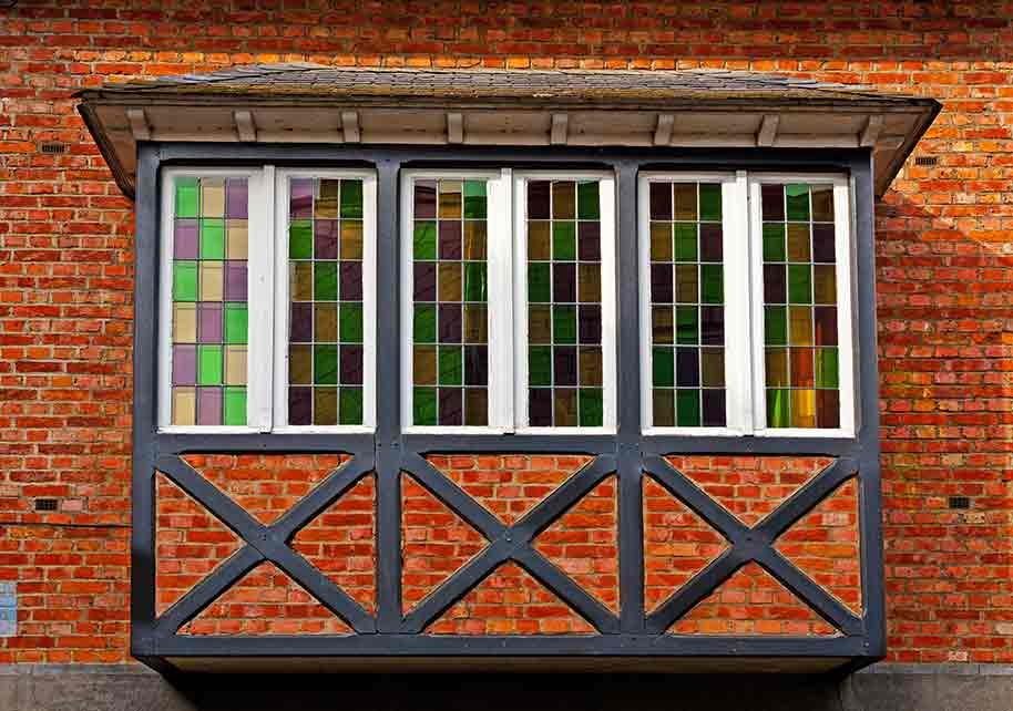 bay window with stained glass panes