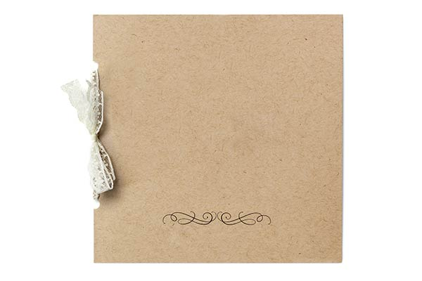 recycled invitation card with lace ribbon