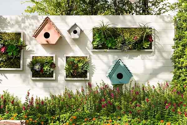 Small Yard Gardening Ideas. Vertical Gardening. Birdhouses And Vertical  Wall Gardens