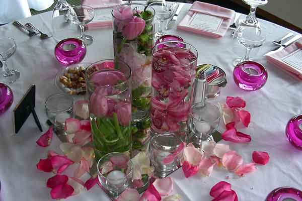 floating floral centerpiece with tealights