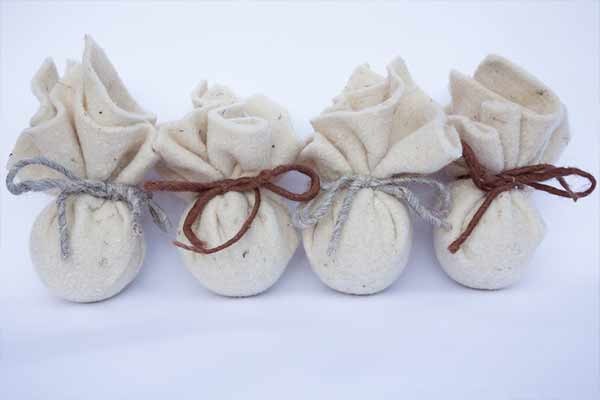 wool sachets tied with twine