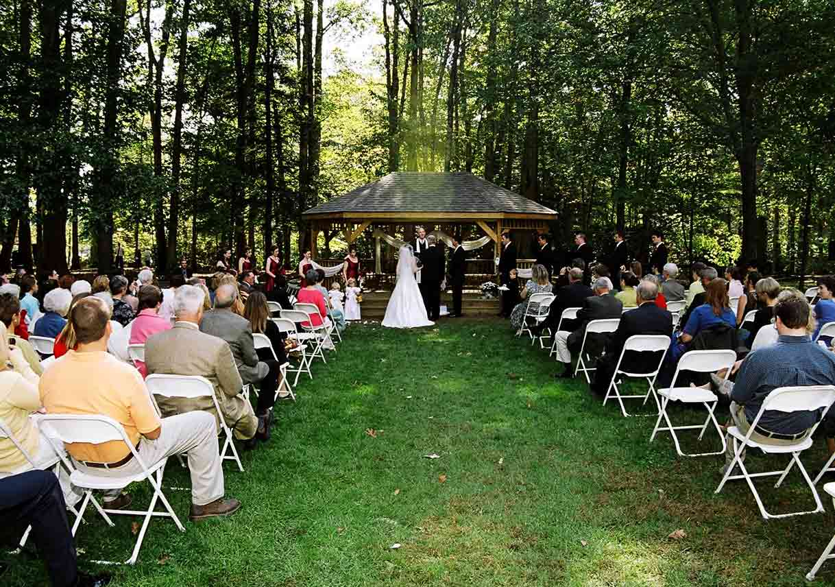 wedding ceremony at gazebo in wooded state park