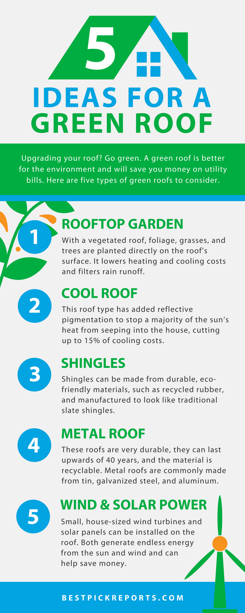 5 ideas for a green roof infographic