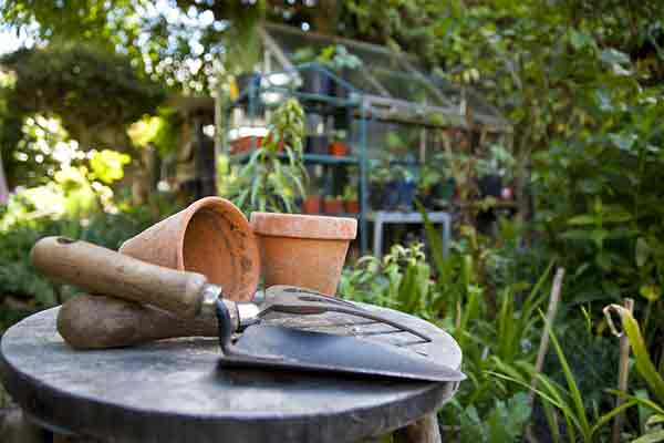 gardening tools on a stool
