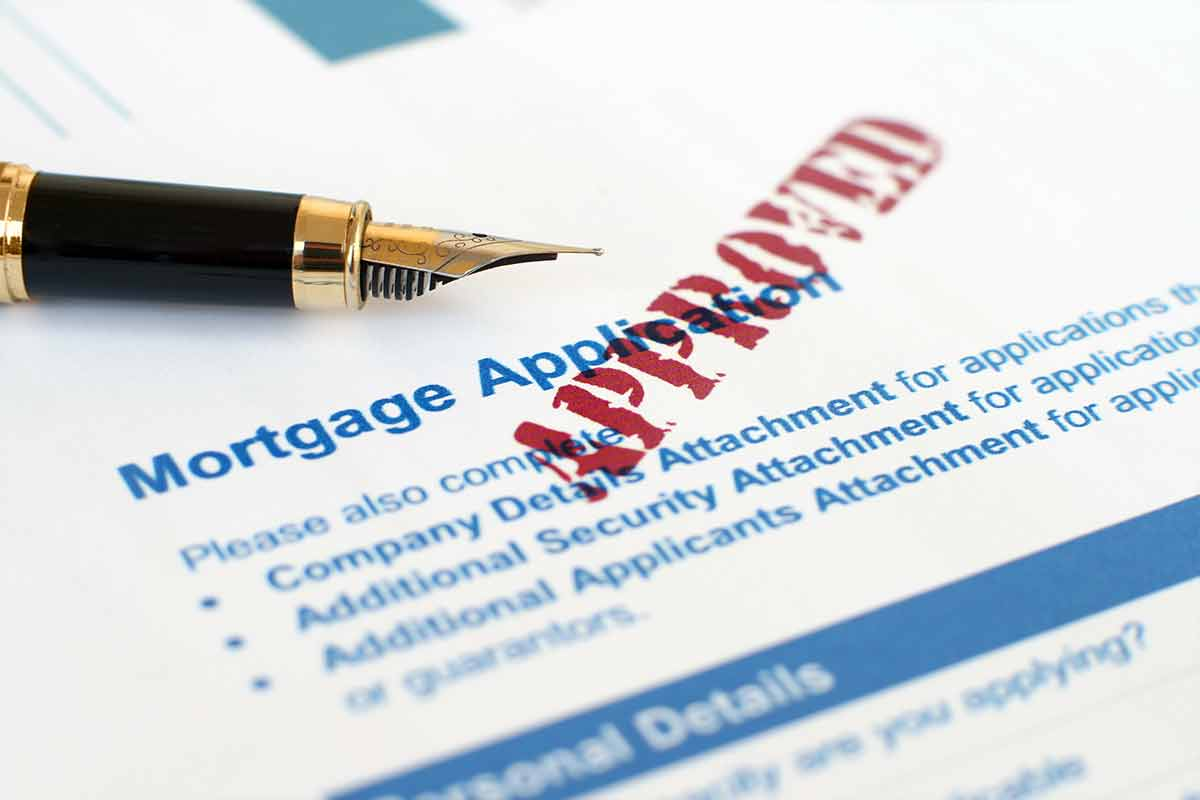 mortgage application with approval stamp