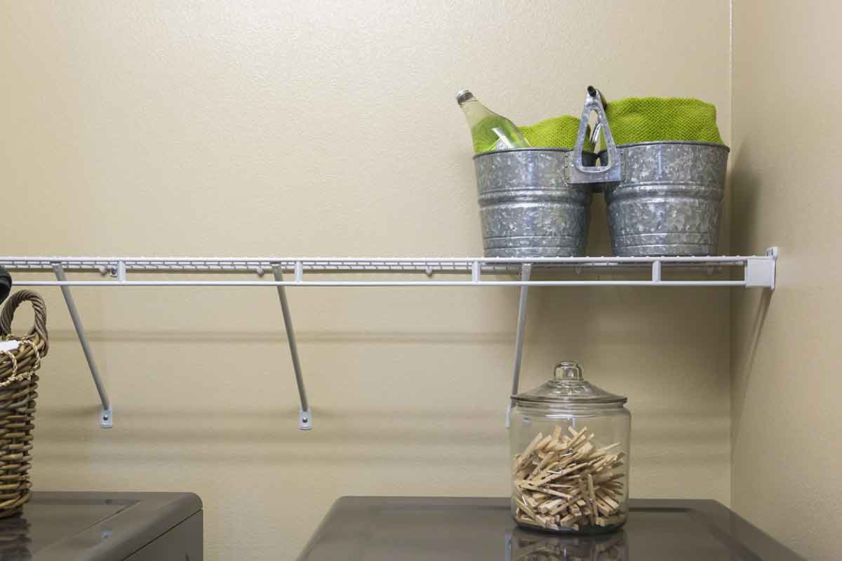 Laundry room with wire shelving