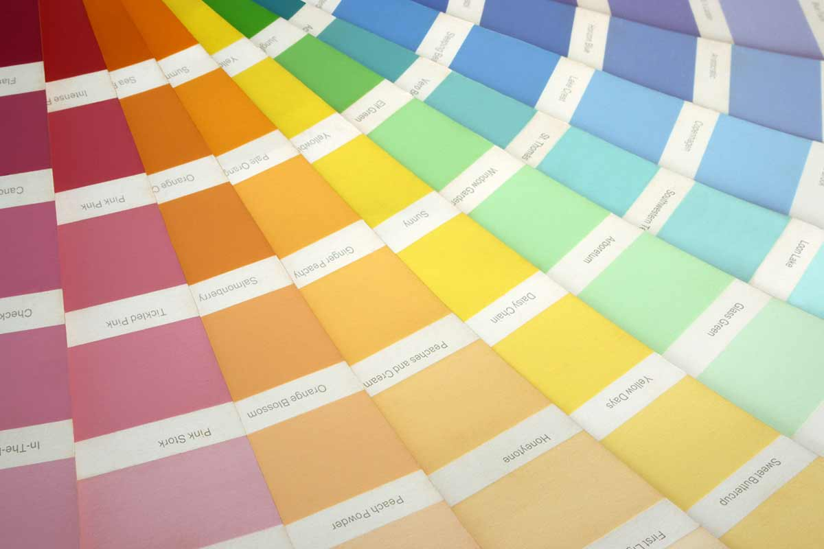 Colorful paint swatches fanned out
