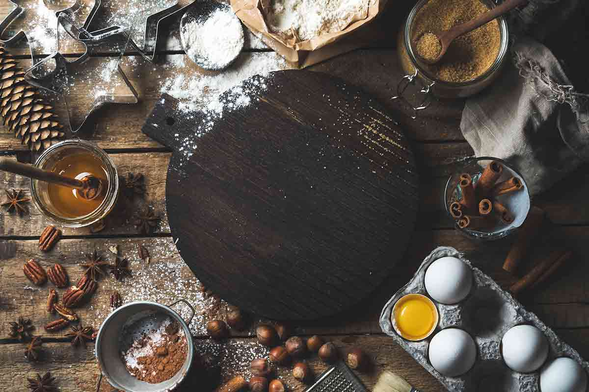 cooking ingredients on a wooden surface