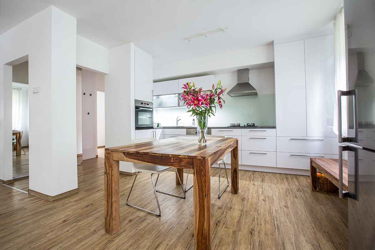 Modern kitchen interior staged with flowers