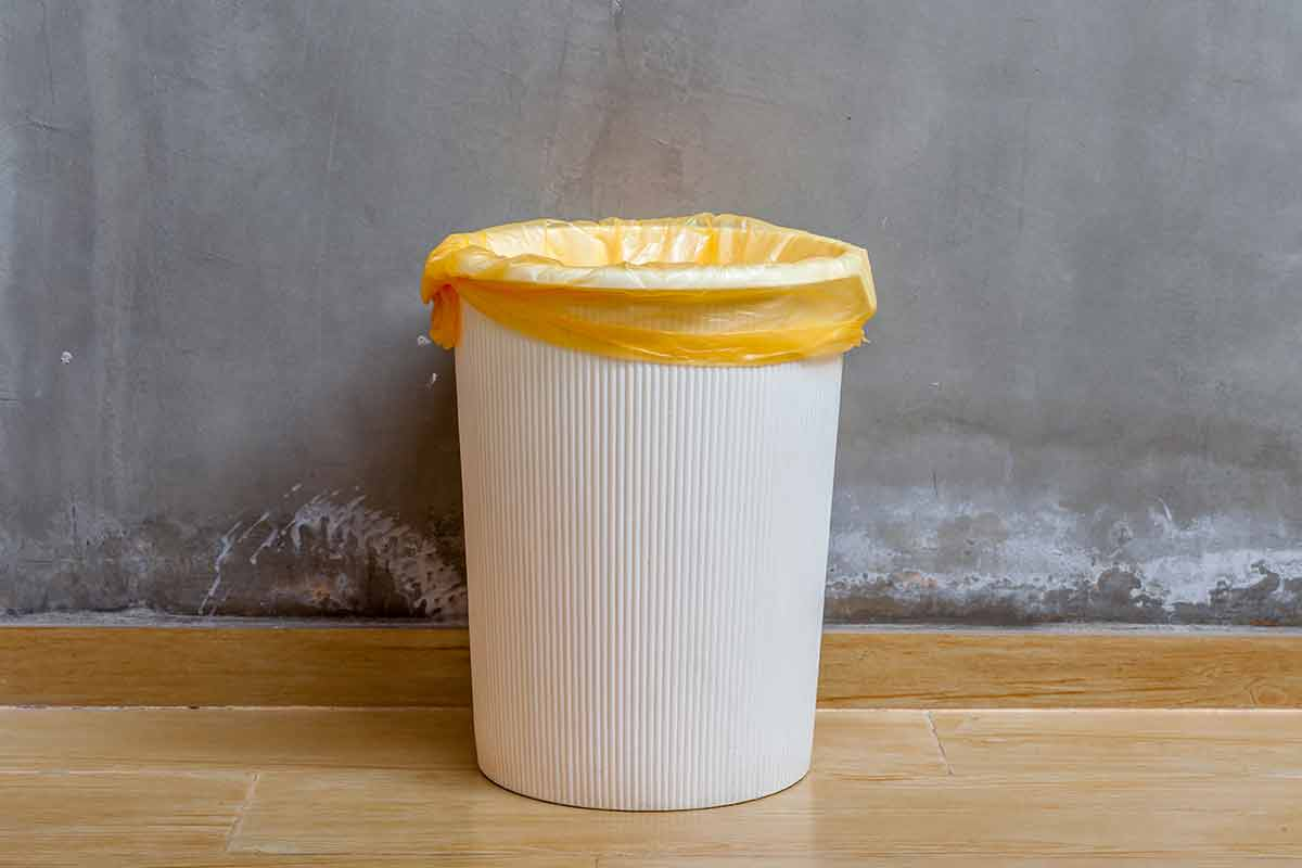 trash can with orange liner