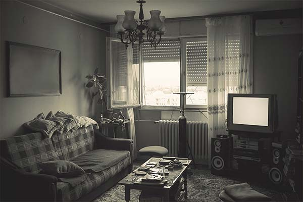 living room in grayscale