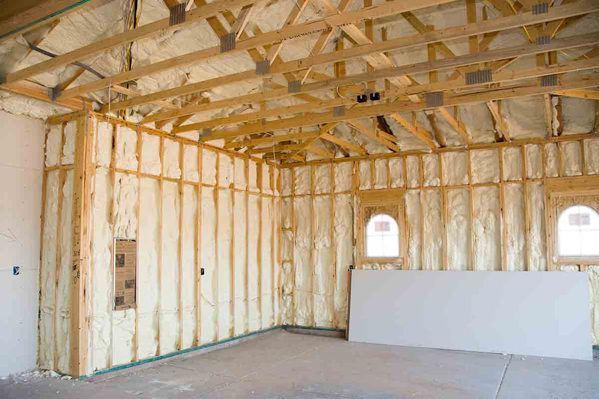 interior home construction with insulation