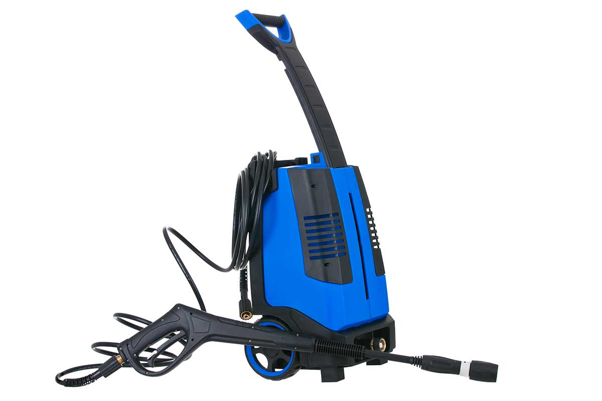Blue pressure washer isolated on white background