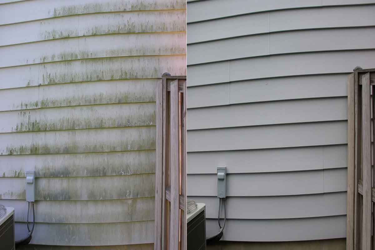 Side-by-side comparison of white siding before and after pressure washing