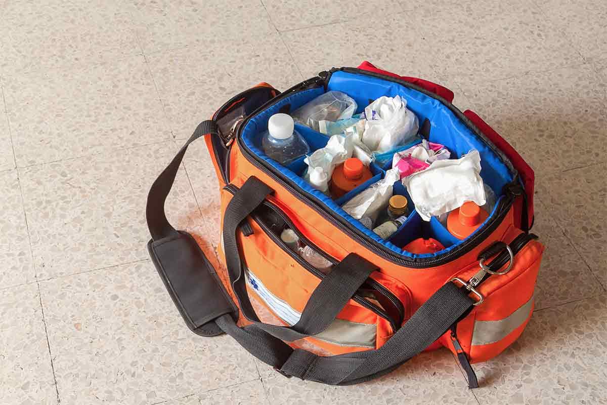 Orange emergency first aid kit