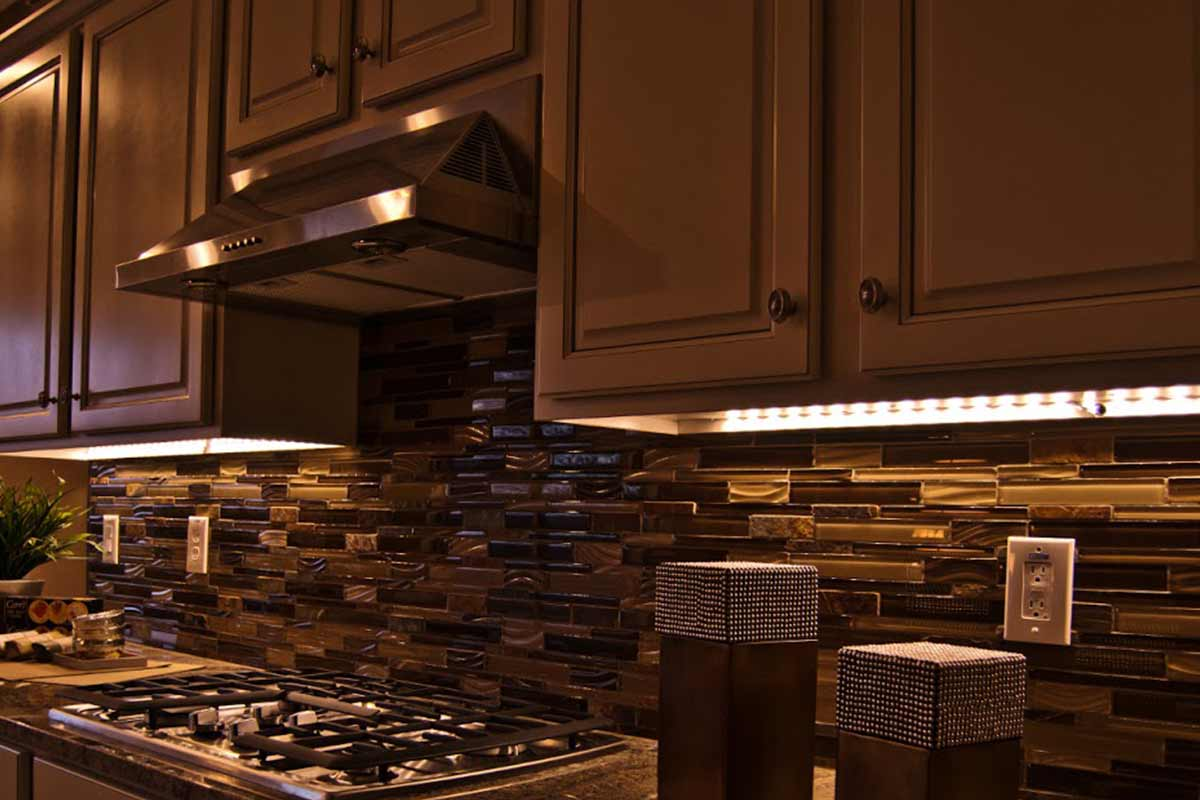 Kitchen cabinets with LED accent lighting