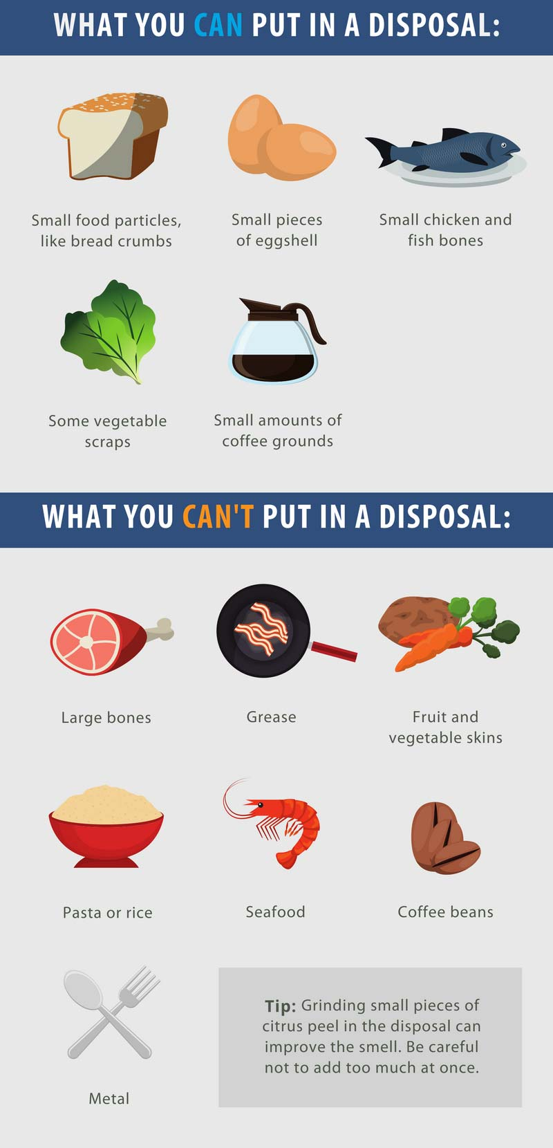 what you can and can't put in a grabage disposal chart