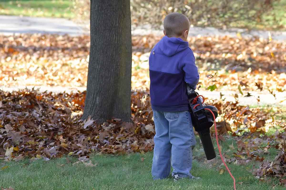 young boy using a leaf blower