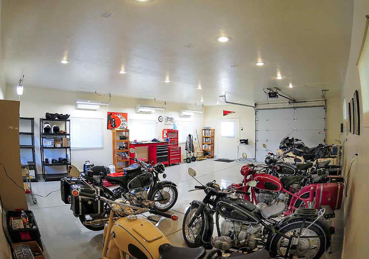 garage organized and decorated with wall art