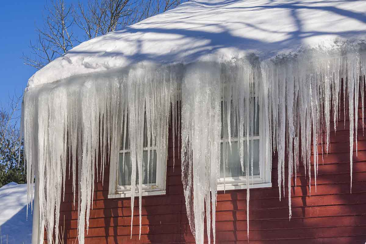 ice dam buildup on gutters in movie