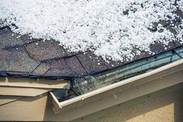 hail melting on roof