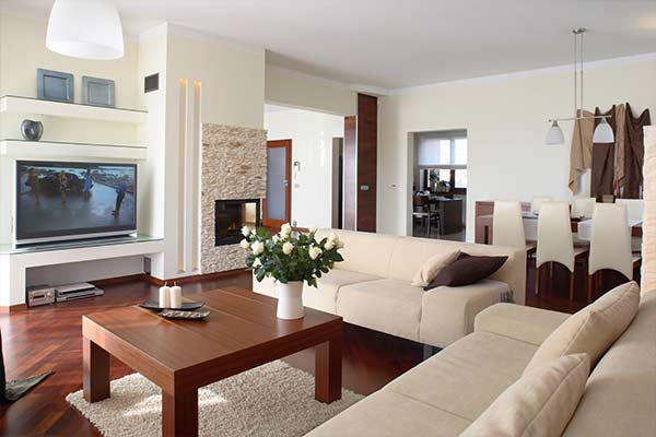 organized living room in modern style