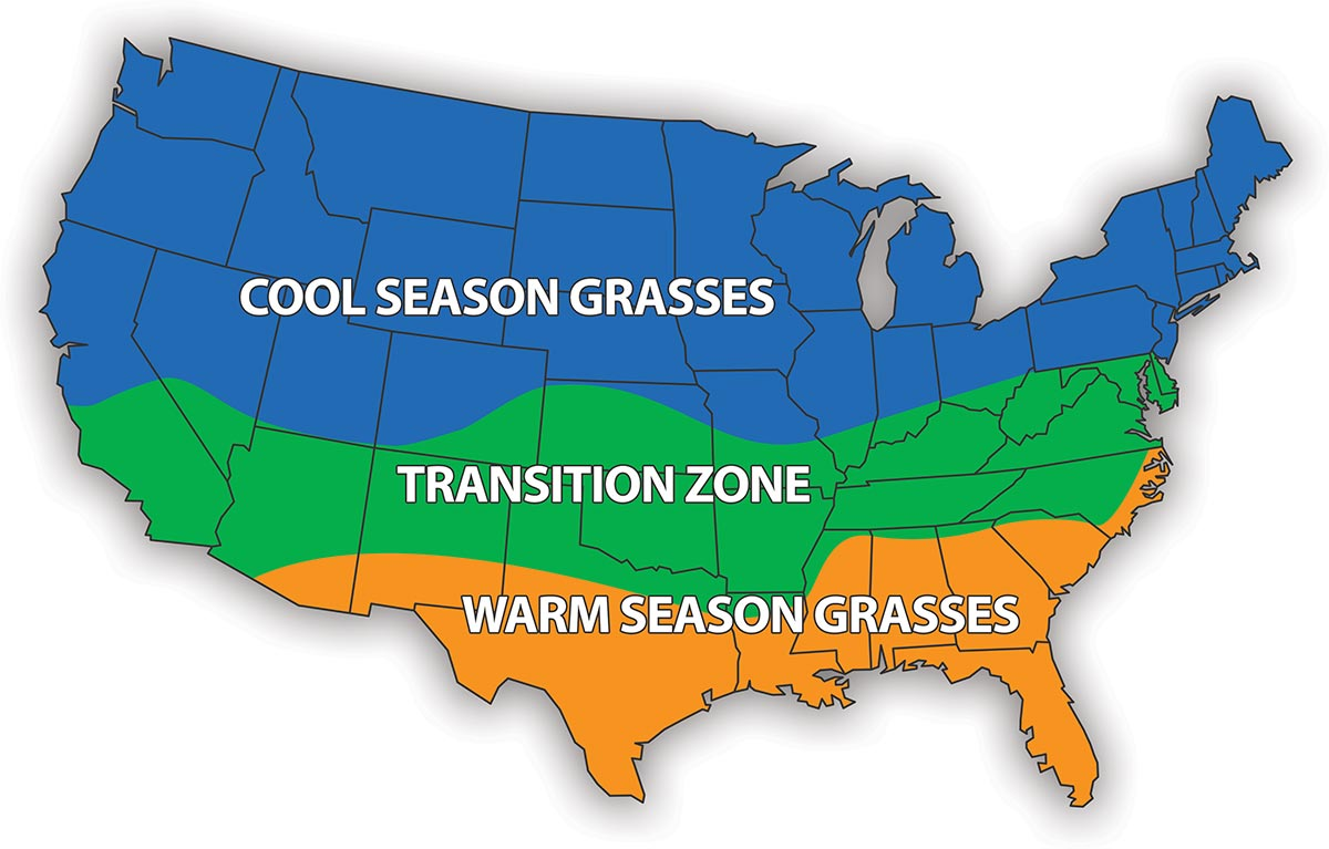 map of warm season grasses and cool season grasses