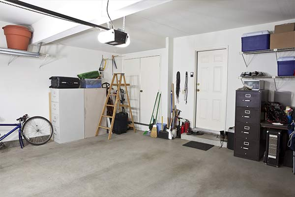 clean garage with storage